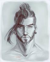 Hanzo sketch by SirensReverie