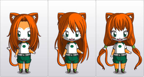 Juni Chibi with 3 different hairstyles. by Junitea