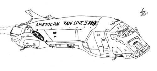 Flying Van Sketch by albator