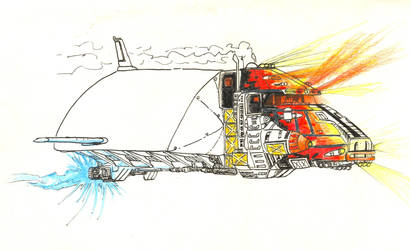 Flying truck with flame by albator