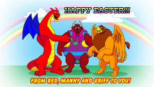 Dragon, Griffon and Minotaur Easter Wallpaper by RetroUniverseArt