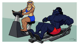 Workout Rivals by RetroUniverseArt