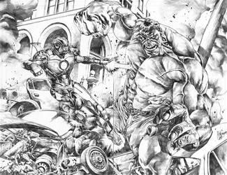 Ironman vs. Hulk commission by MicoSuayan