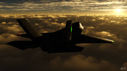 F-35 - Sunlit Horizon (Paint Daubs) by Sentinalysis