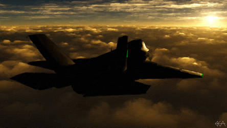 F-35 - Sunlit Horizon (Painting) by Sentinalysis