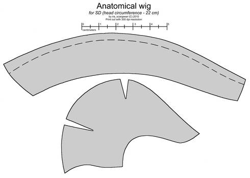 Anatomical wig for SD BJD doll by scargeear