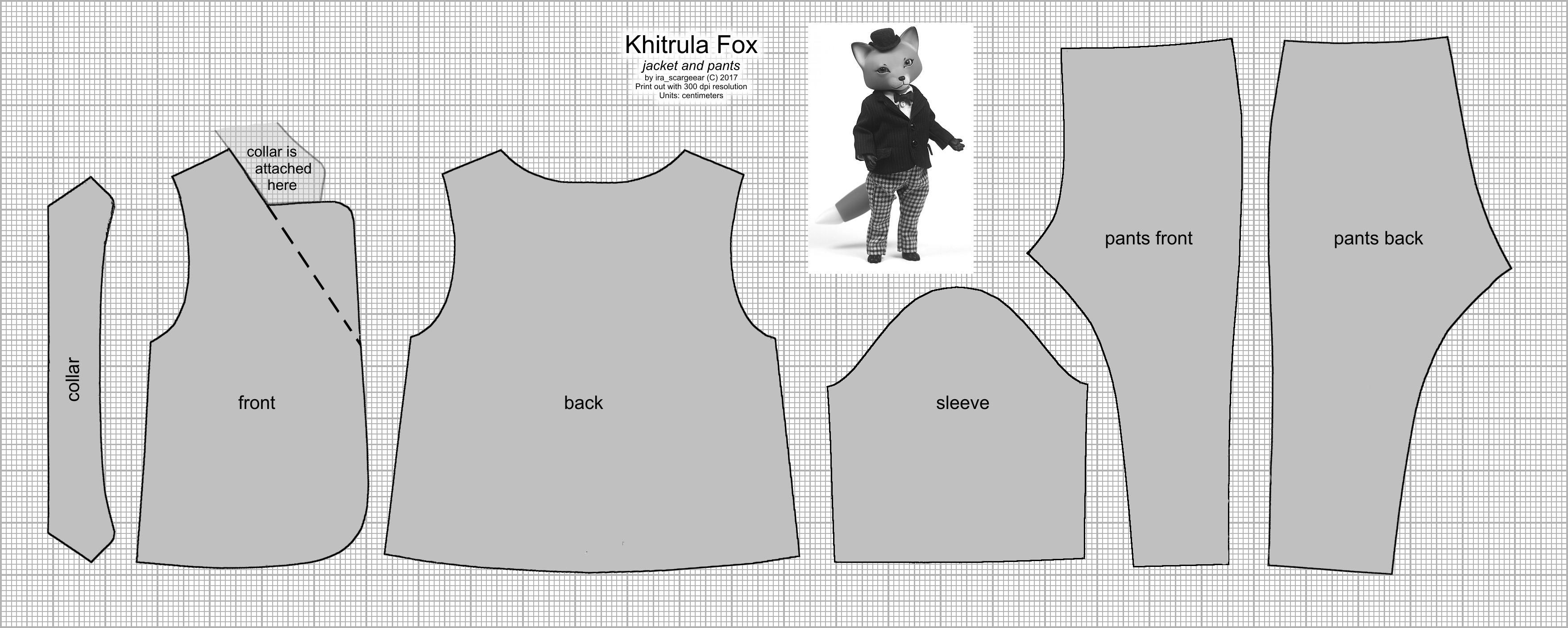 Khitrula Fox Jacket and Pants Pattern by scargeear