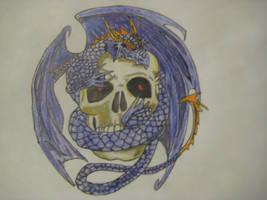 Dragon and Skull by MrsHarleenQuinnzel