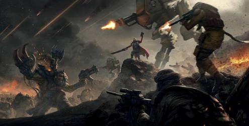 Warhammer 40k Tribute, Orks vs Imperium by pierreloyvet