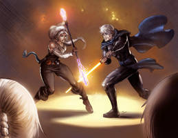Zujenia and Adem Sparring (Commission) by KaRolding