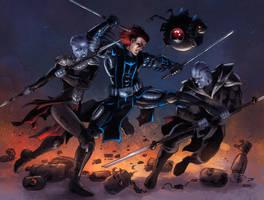 DarkHawk Fights! (Commission) by KaRolding