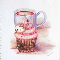 Hello kitty cupcake by fomhar-orga