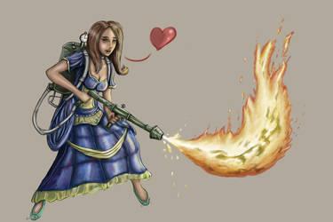 Flamethrower Princess2 by Hornowl