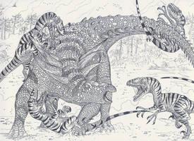 Sauropelta vs Deinonychus by HodariNundu