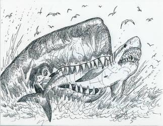 Leviathan eats Megalodon by HodariNundu