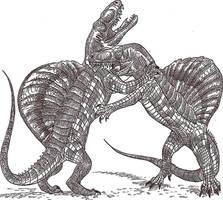 Arizonasaurus fight by HodariNundu