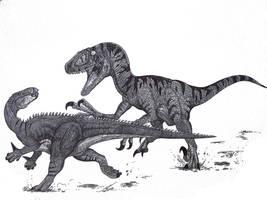 Utahraptor vs Hippodraco by HodariNundu