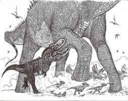 Feathered T-Rex vs Alamosaurus by HodariNundu