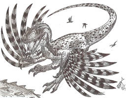 Flying allosaur by HodariNundu