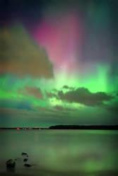Auroras over Pointe aux Pins by tfavretto