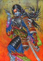 SAMURAI girl ~heavy armour on KIMONO~ by GunaSyuu