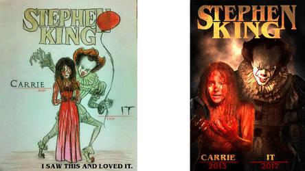 Stephen King Drawing and My Stephen King by DarkWazaman