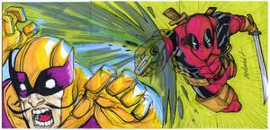 DEADPOOL vs BATROC 3 sketch card puzzle by mdavidct