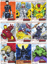 Avengers age of Ultron oficial sketch cards 1-9 by mdavidct