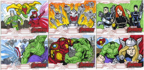 Avengers age of Ultron oficial sketch cards  34-39 by mdavidct