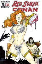 Red Sonja and Conan sketch cover by mdavidct