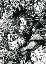 Wolverine Sabretooth ATC Inks by DKuang