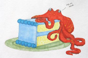 Octopus eating cake by ktree
