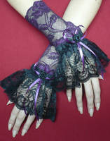 Black Purple Aristocrat Gloves by Estylissimo