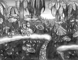 Donkey Kong Country (Jungle) Line Art by SoulStryder210