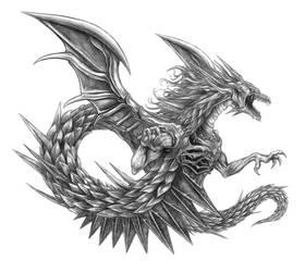 Final Fantasy V - Shinryu (Line Art) by SoulStryder210