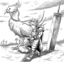 Inktober (Day 26) - Cloud and Gold Chocobo (Shaded by SoulStryder210