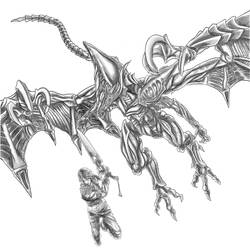 Inktober (Day 27) - Squall and Bahamut (Shaded) by SoulStryder210