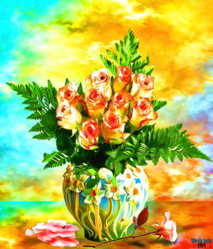 Vase with flowers (6) Bouquet with roses by makiskan