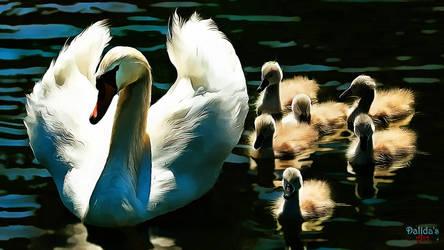 Swan Family by makiskan