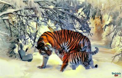 Tiger Family by makiskan