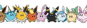 Kirby / Eeveelutions by Elenwae
