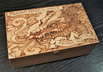 Pyrography dragon box by BlueMidna