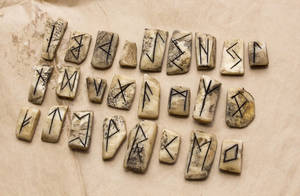 Real Bone Futhark Runes by FraterOrion