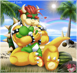Bowser Yoshi huggles on the Beach by Bowser2Queen