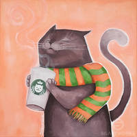 Coffee Cat by Silartworks