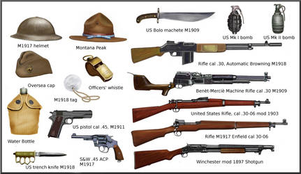 WW1 US Equipment and weapons by AndreaSilva60