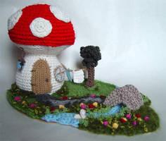 Crochet mushroom house 2 by meekssandygirl
