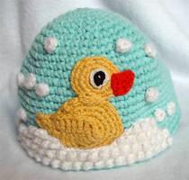 Crochet Rubber Duckie Hat by meekssandygirl