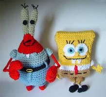 crochet Spongebob and Mr Krabs by meekssandygirl