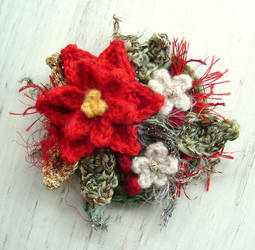 Crochet Red Poinsettia Brooch by meekssandygirl